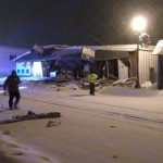 No injuries were reported immediately after the collapse of the roof of Millinocket's Katahdin Pins 'n Cues on Sunday night. The bowling alley had been closed for more than a year. The collapse propelled building fragments into adjoining buildings and left debris in the middle of Penobscot Avenue, witnesses said.