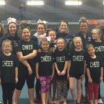 A few of the University of Maine cheerleaders visited the Old Town-Orono YMCA cheerleaders to give the girls a little encouragement before their first competition on March 5.