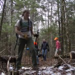Colby College students helped build the Hidden Knoll Trail in Freedom, open to the public for snowshoeing and hiking.