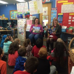 (Left: Marni Maynard, University of Maine School of Law student Right: Laura Young, President of Rotary reading at Lyseth School)