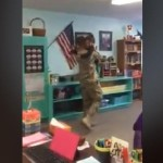 A typical day at school for a Maine girl quickly turned memorable when her dad made a surprise return from his deployment in Kuwait.