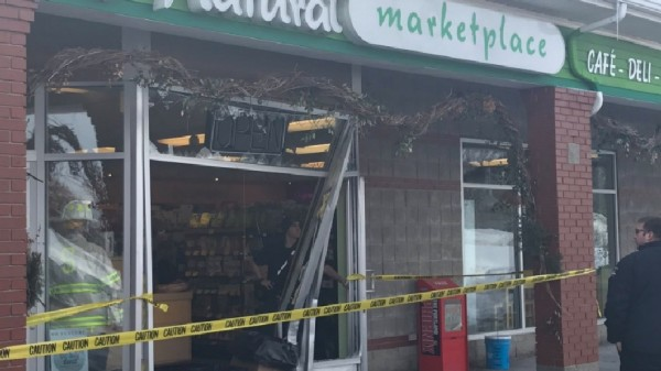 A car crashed through a storefront in Scarborough after a teen driver hit the gas pedal instead of the brake Saturday morning.