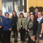 Reps. Barbara Cardone and Victoria Kornfield, both D-Bangor, greeted students from Bangor High School on Thursday, Jan. 26, in the Hall of Flags of the Maine State House. The students were in Augusta as part of the Maine Mathematics and Science Alliance.