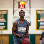 Husson University senior Raheem Anderson practices in the Newman Gym at Husson University in Bangor on Thursday.