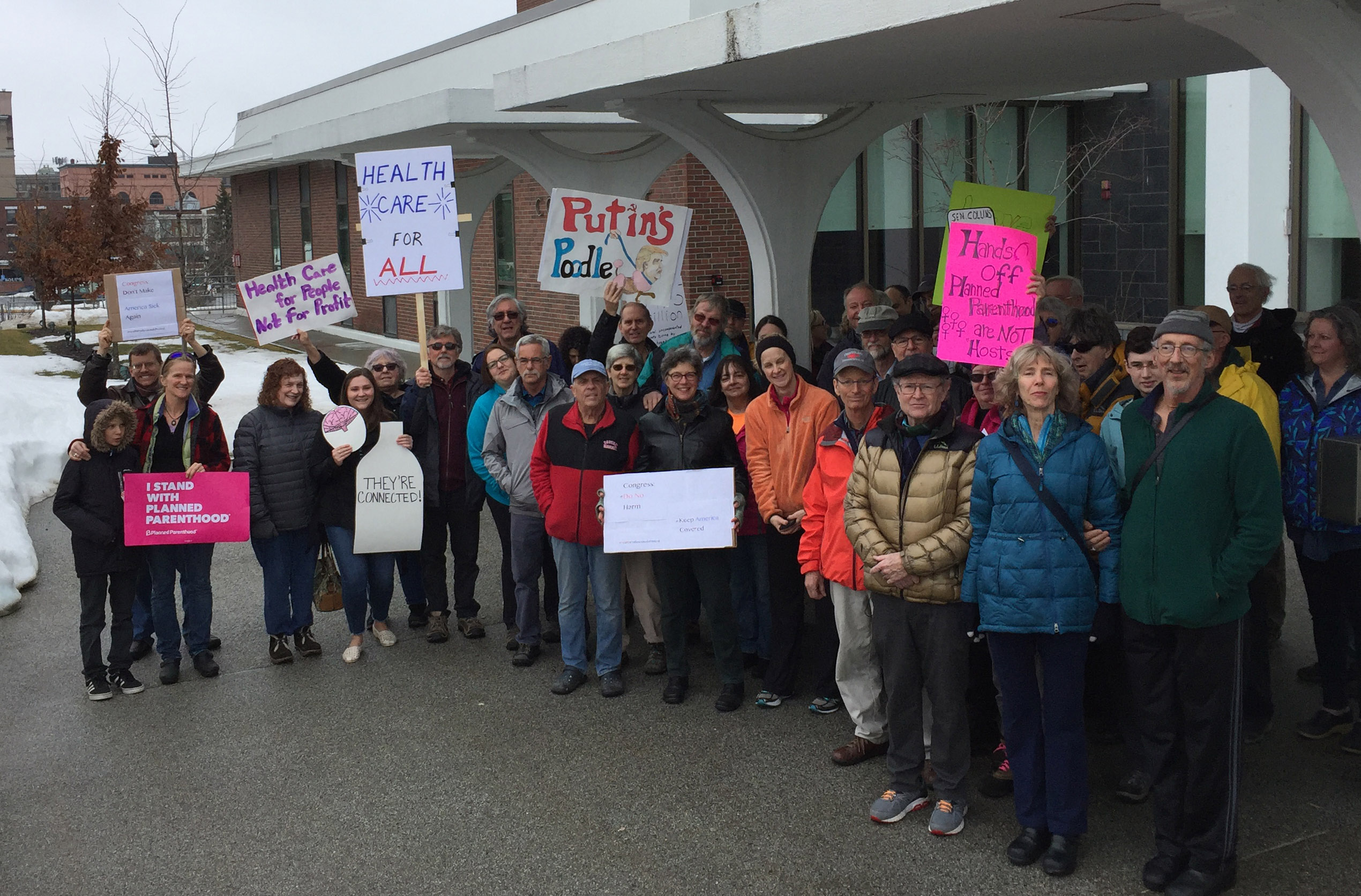 Doctors picket Sen. Collins' office in support of Affordable Care Act