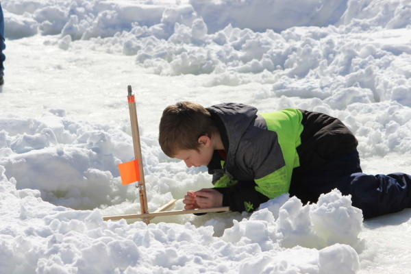 Families flock to Brewer for youth ice fishing event — Outdoors