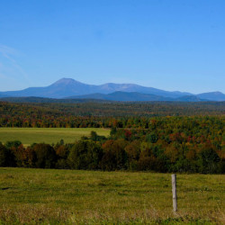 At view of Mount Katahdin from Route 11 outside Patten.