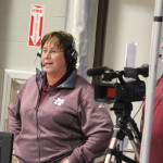 Nokomis Regional High School Principal Mary Nadeau (left) and teacher Matt Brown broadcast a recent Nokomis basketball game at the Augusta Civic Center. Nadeau, who has been at Nokomis for 25 years as a teacher, coach and administrator, enjoys sharing her experience by calling the play-by-play for Warriors' athletic events with Nokomis Warrior Broadcasting.