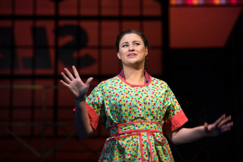 Anna Giroux as Babe sings &quotI'm Not at All in Love&quot in &quotThe Pajama Game&quot at the University of Maine.