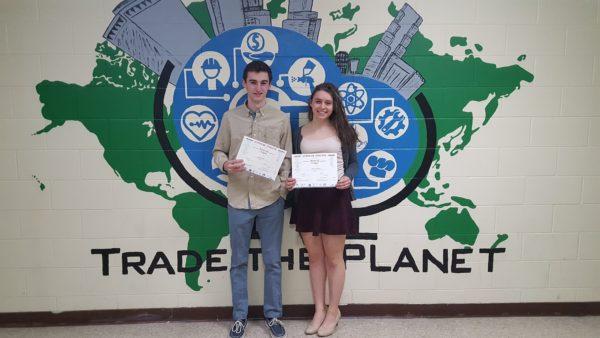 Garrett Barb and Allison Johnson at recognition ceremony