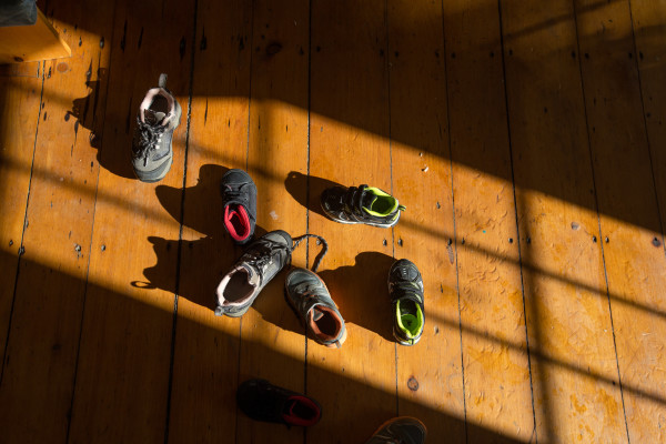Children's shoes are strewn on the floor of a home in Thomaston in this November 2016 file photo.