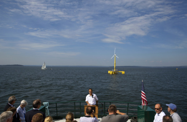 Habib Dagher, director of UMaine advanced structures and composites sector, speaks to the crowd during a trip to celebrate the first year of the University of Maine's floating wind turbine, VolturnUS in 2014.