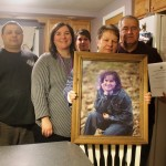 The family of murder victim Amy Theriault gathers in Amy's sister Pam Dubois' St. John home on the eve of speaking before the Maine Legislature in Augusta. From left: Scott Dubois, brother-in-law; Pam Dubois, sister; Carrie Theriault, sister; Barbara Theriault, mother; and Ricky Theriault, father.