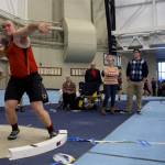 Brewer's Austin Lufkin prepares to throw the shot put during the PVC-Eastern Maine Indoor Track League Championship meet at the University of Maine in Orono on Feb. 10.