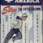 "A World War II poster titled, ""Appreciate America Stop the Fifth Column."""