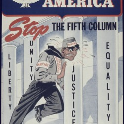 A World War II poster titled, &quotAppreciate America Stop the Fifth Column.&quot