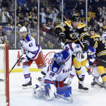 Boston's David Backes (42) is called for goaltender interference against the New York Rangers' Henrik Lundqvist during Thursday night's NHL game at TD Garden in Boston. The Rangers beat the Bruins 2-1.
