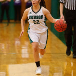 Senior Darla Morales, pictured during a game in December 2016, was among five double-figure scorers on Friday as Husson University beat DeSales 74-72 for the program's first NCAA Division III postseason victory.
