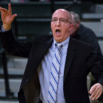 Husson University men's basketball coach Warren Caruso, pictured during a Jan. 10 game, led his team to the NCAA Division III tournament. The Eagles fell 92-76 to No. 3 Bentley on Friday night.