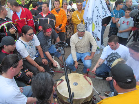 Members of Maine's Native American tribes rallied outside the State House on Tuesday, May 26, 2015, after tribal representatives in the House of Representatives resigned from their seats over conflicts with state government and Gov. Paul LePage.