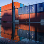 Shipping containers stand stacked at the Eimskip facility on Commercial Street in Portland.