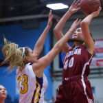 Katie Butler of Bangor (right), pictured during a Feb. 16 Class AA tournament game in Augusta, has been selected as one of three finalists for the 2017 Miss Maine Basketball Award.