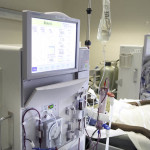 A patient goes through dialysis treatment at Central Maine Medical Center in Lewiston.