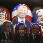 Painted Matryoshka dolls, or Russian nesting dolls, bearing the faces of Donald Trump, German Chancellor Angela Merkel, French President Francois Hollande and Russian President Vladimir Putin are displayed for sale at a souvenir shop in central Moscow, Russia, Nov. 7, 2016.