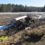 A Belfast man died Monday afternoon when his pickup struck collided with an oil tanker truck on Route 3, sending the oil truck into a bog. No oil leaked, troopers said.