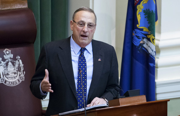 Gov. Paul LePage addresses the chamber during the 2017 State of the State address at the State House in Augusta in early February.
