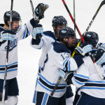 University of Maine celebrates after scoring a goal against New Hampshire during their hockey game at Alfond Arena in Orono on Dec. 3, 2016.