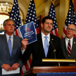 U.S. House Majority Leader Kevin McCarthy, U.S. House Speaker Paul Ryan, and U.S. Representative Greg Walden discuss the American Health Care Act , their replacement for the Affordable Care Act, at a news conference on Tuesday.