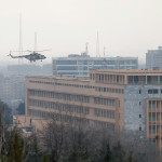 Afghan National Army (ANA) helicopter arrives to bring soldiers on a military hospital during gunfire and blast in Kabul, Afghanistan, March 8, 2017.