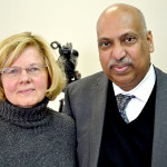 Jeanette Wheeler and Dr. Punyamurtula Kishore at the National Library of Health and Healing in Waldoboro on Feb. 8. Kishore established the library with Wheeler's support.