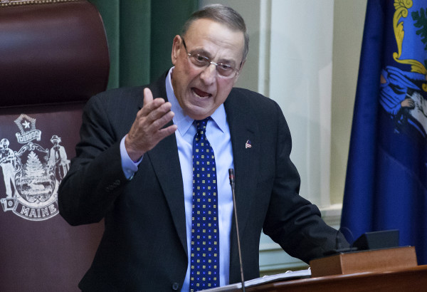 Gov. Paul LePage addresses the chamber during the 2017 State of the State address at the State House in Augusta in February.