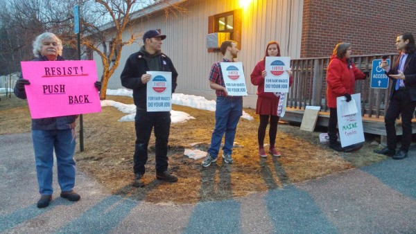 A handful of protesters were outside Gov. Paul LePage's town hall event in Yarmouth. At one point during the event, numerous protesters who were chanting &quotrespect our votes&quot were asked to leave the meeting.