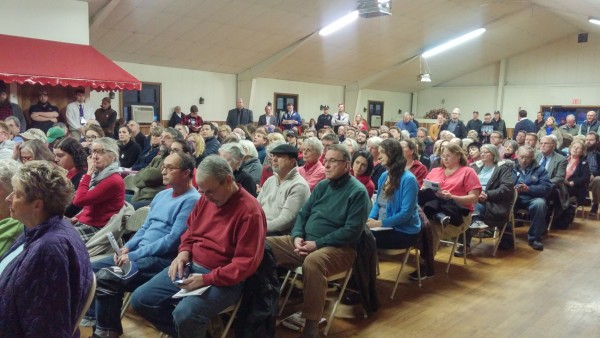 Residents of the Yarmouth area packed the AMVETS hall there to capacity Wednesday for a town hall meeting hosted by Gov. Paul LePage.