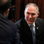 Scott Pruitt, administrator of the Environmental Protection Agency, greets employees of the agency in Washington, February 21, 2017.