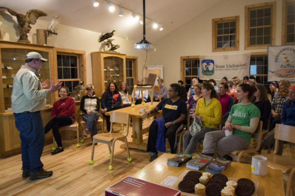 Don Kleiner, a Registered Maine Guide for the past 30 years, gives a presentation about what it means to be a Maine Guide at the Maine Becoming an Outdoors-Woman (BOW) Winter Skills Weekend on Feb. 25, at the University of Maine Bryant Pond 4-H Camp and Learning Center.