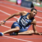 Isaiah Harris reacts after competing in the men's 800m semifinals in the 2016 U.S. Olympic track and field team trials at Hayward Field.