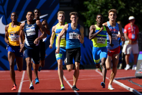 Isaiah Harris and Chris Low (middle) and Shaquille Walker (right) compete during qualifying heats in the men's 800m in the 2016 U.S. Olympic track and field team trials at Hayward Field.