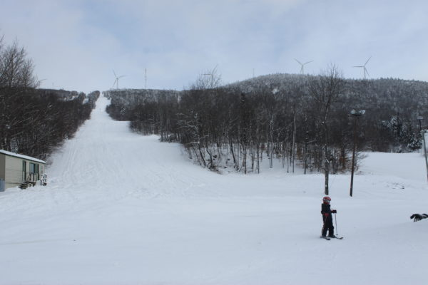 Skiers at Bigrock Mountain in Mars Hill in December.