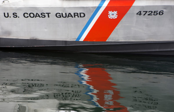 A 47-foot boat is seen at the United States Coast Guard station in Rockland Friday. Cuts to the USCG proposed in Trump's budget would cripple the service in Maine.