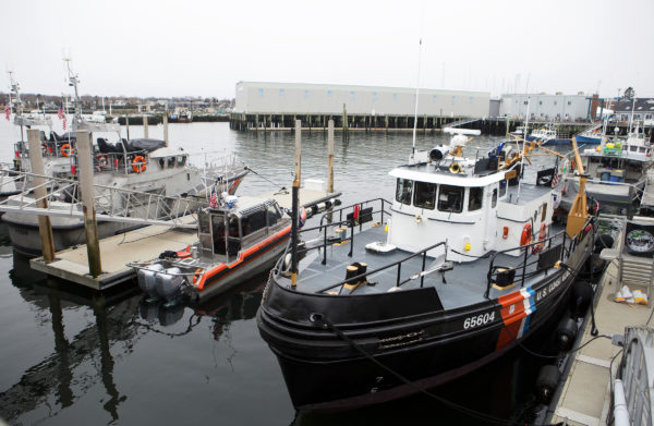 Two 47-foot boats, a 25-foot small boat, and U.S. Coast Guard Cutter Tackle sit in the harbor at the United States Coast Guard station in Rockland Friday. Cuts to the USCG proposed in Trump's budget would cripple the service in Maine.