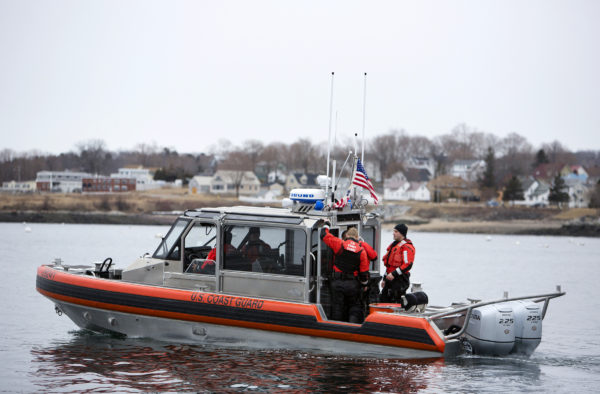 Crew members depart for a training exercise aboard the 25-foot boat at the United States Coast Guard station in Rockland Friday. Cuts to the USCG proposed in Trump's budget would cripple the service in Maine.