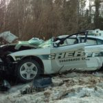 A  Sagadahoc County sheriff's deputy escaped serious injury Saturday morning after he reportedly nodded off behind the wheel of his cruiser and crashed into a tree, Sheriff Joel Merry said Saturday.