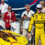 Sprint Cup Series driver Matt Kenseth (20) poses with his victory lobster after winning the New Hampshire 301 at the New Hampshire Motor Speedway. The July race will remain in New Hampshire, while the September race will move to Las Vegas.