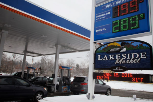 People gas up at the Lakeside Market in Waterboro on Jan. 12, 2015.