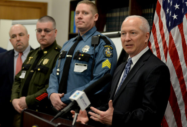 Joel Garland, IRS special agent in charge, speaks at a press conference announcing that eight Maine law enforcement agencies will share more than $1.1 million of the funds forfeited by Malcolm French and Haynes Timberland Inc. in the Township 37 pot plantation case.