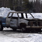 This pick up truck was one of two vehicles that were set ablaze in Island Falls early Thursday morning.